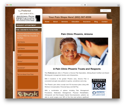 WP theme Pain Management Las Vegas - painclinicphoenix.com
