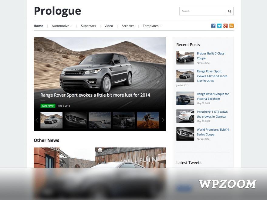 Prologue WordPress theme design