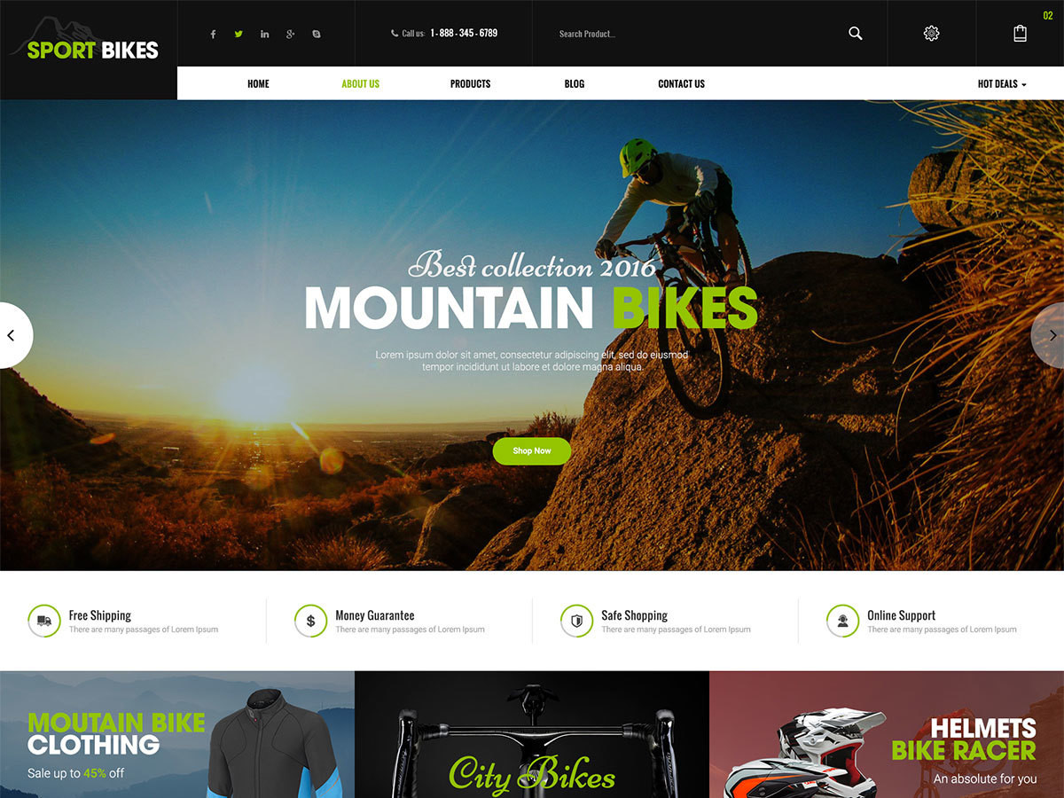 Sportbikes WordPress shop theme