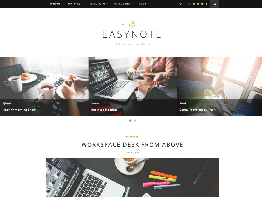 EasyNote WordPress blog template