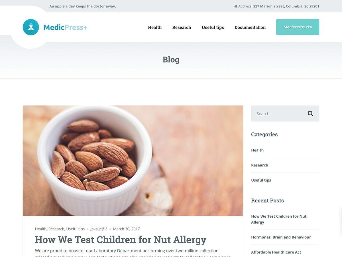 MedicPress Lite template WordPress free