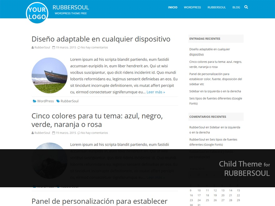 RubberSoul Child premium WordPress theme