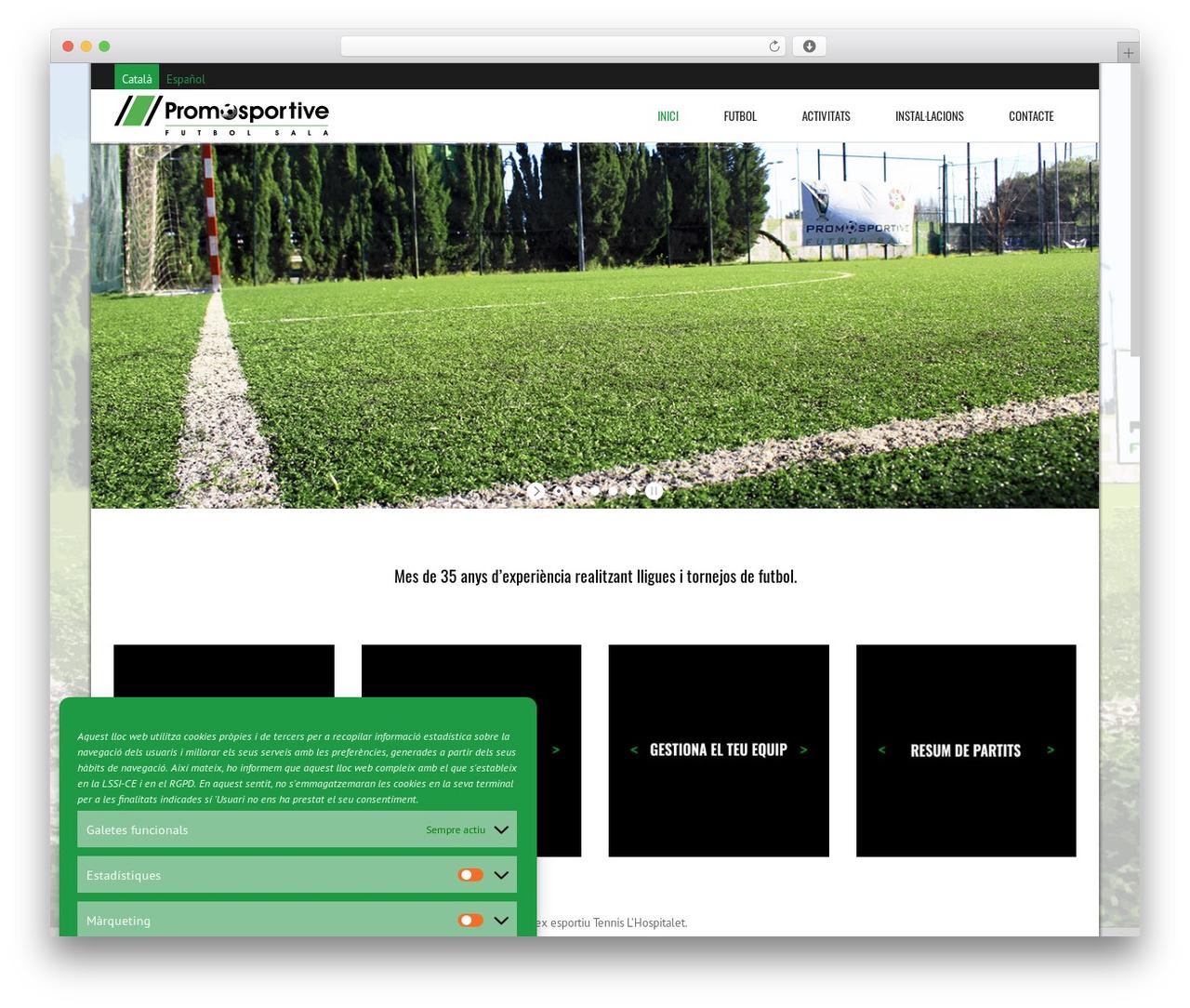 WordPress website template Subway - futbolsalapromosportive.com