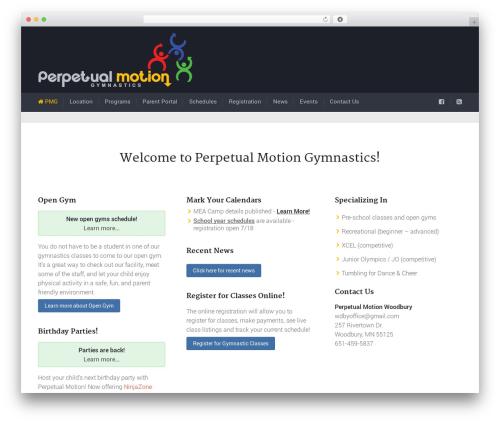 Trades gym WordPress theme - perpetualmotiongymnastics.com