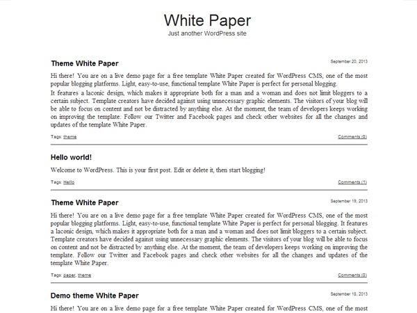 White Paper PRO WordPress blog template