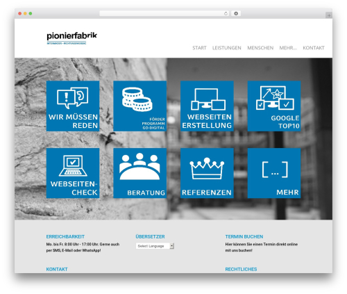 WordPress website template Divi - pionierfabrik.de