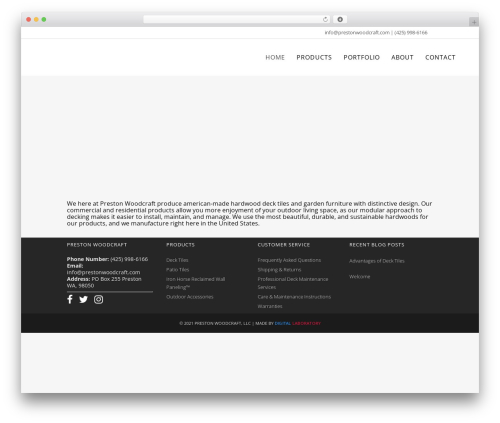 Bridge WordPress theme design - prestonwoodcraft.com