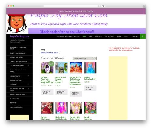 Twenty fourteen child WordPress shopping theme - purpletoyshop.com