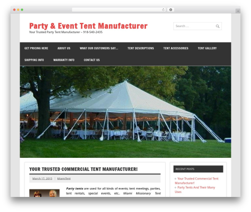 Dynamic News Lite company WordPress theme - partytentsmiami.com