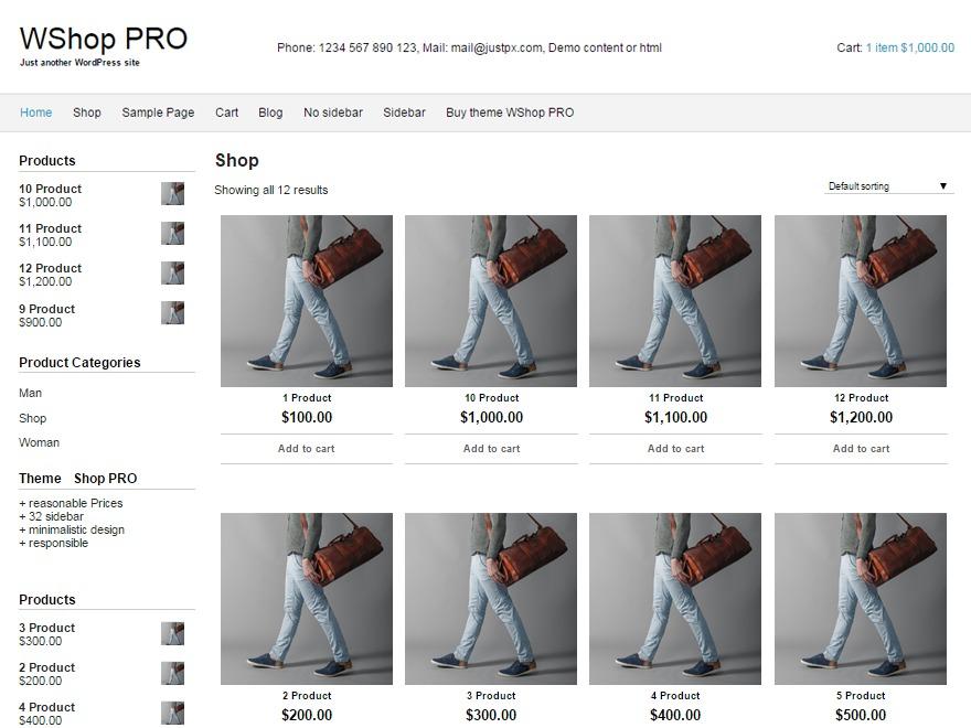 WShop PRO WordPress store theme