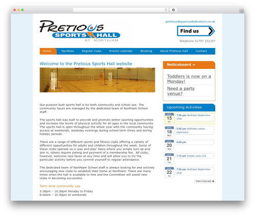 Hybrid WP template - pretioussportshall.co.uk