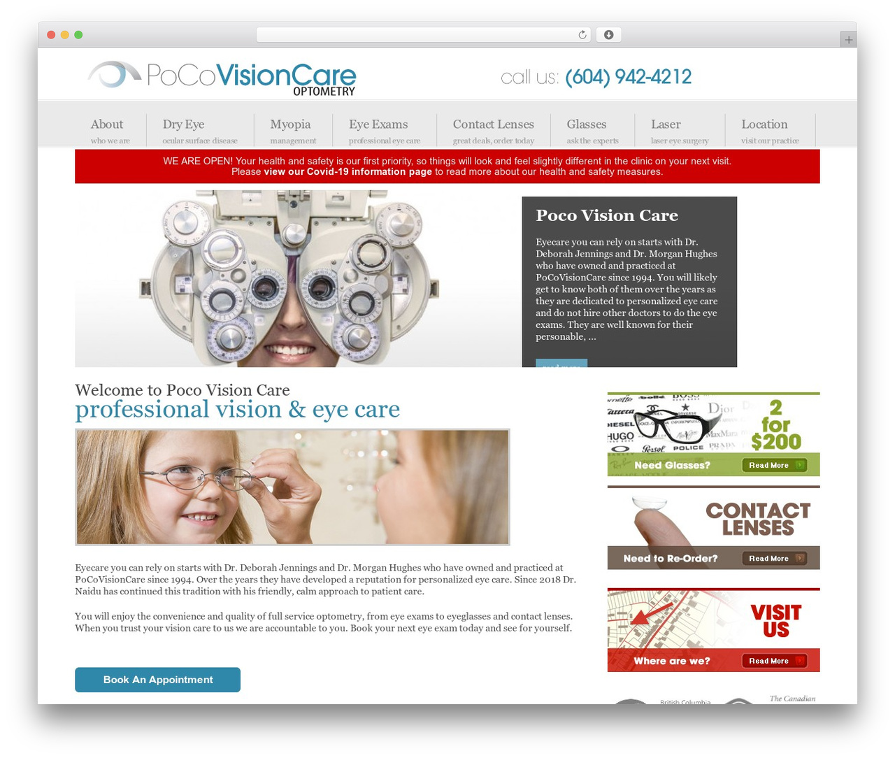cb413734615 WordPress website template Centita - pocovisioncare.com. Last updated Dec  2018. Optometrists Poco Vision Care - Port Coquitlam Optometrist and eye ...