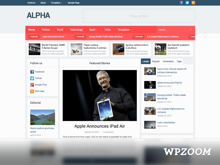 Alpha Theme WordPress news theme