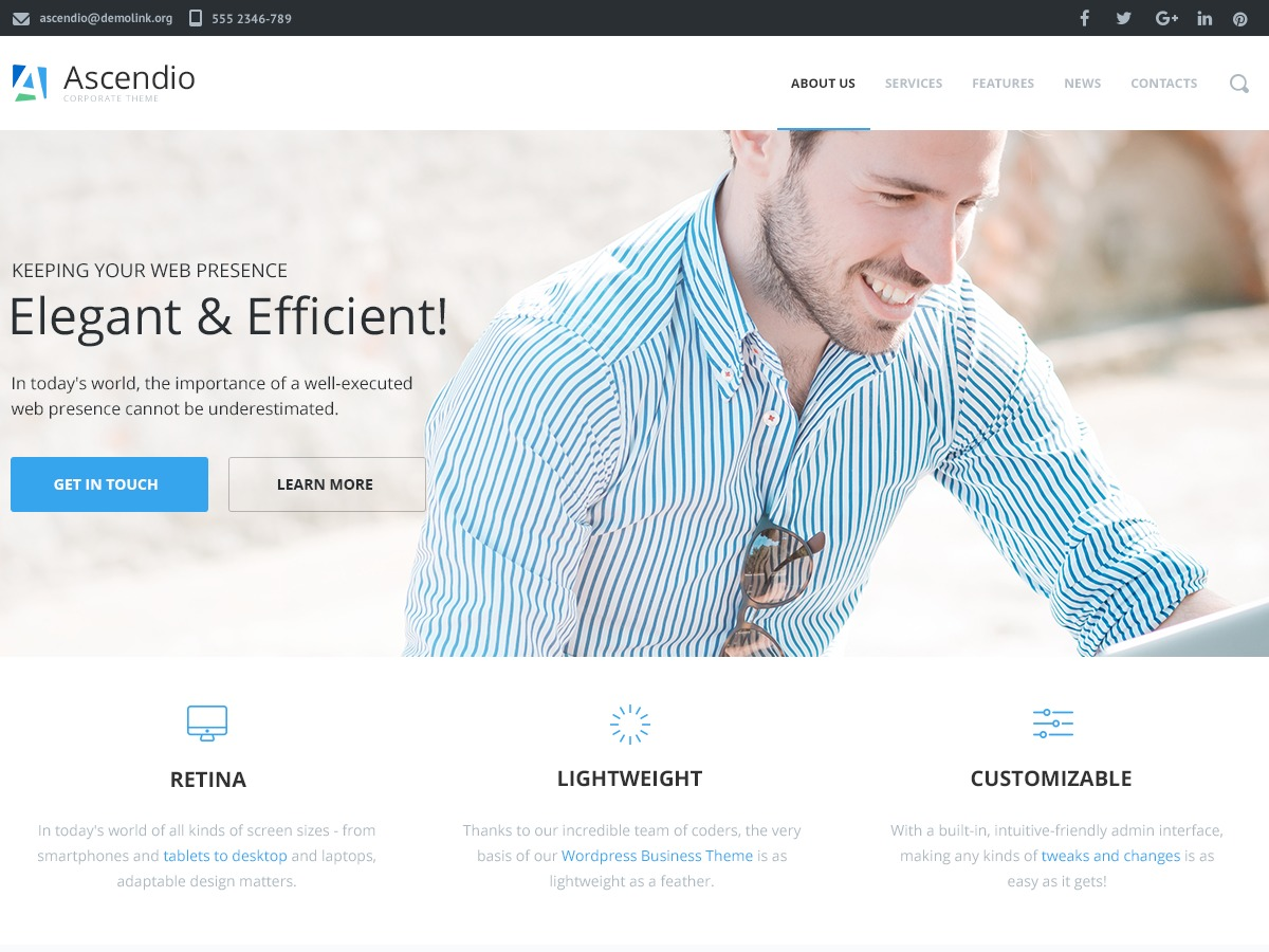 Ascendio WordPress template for business