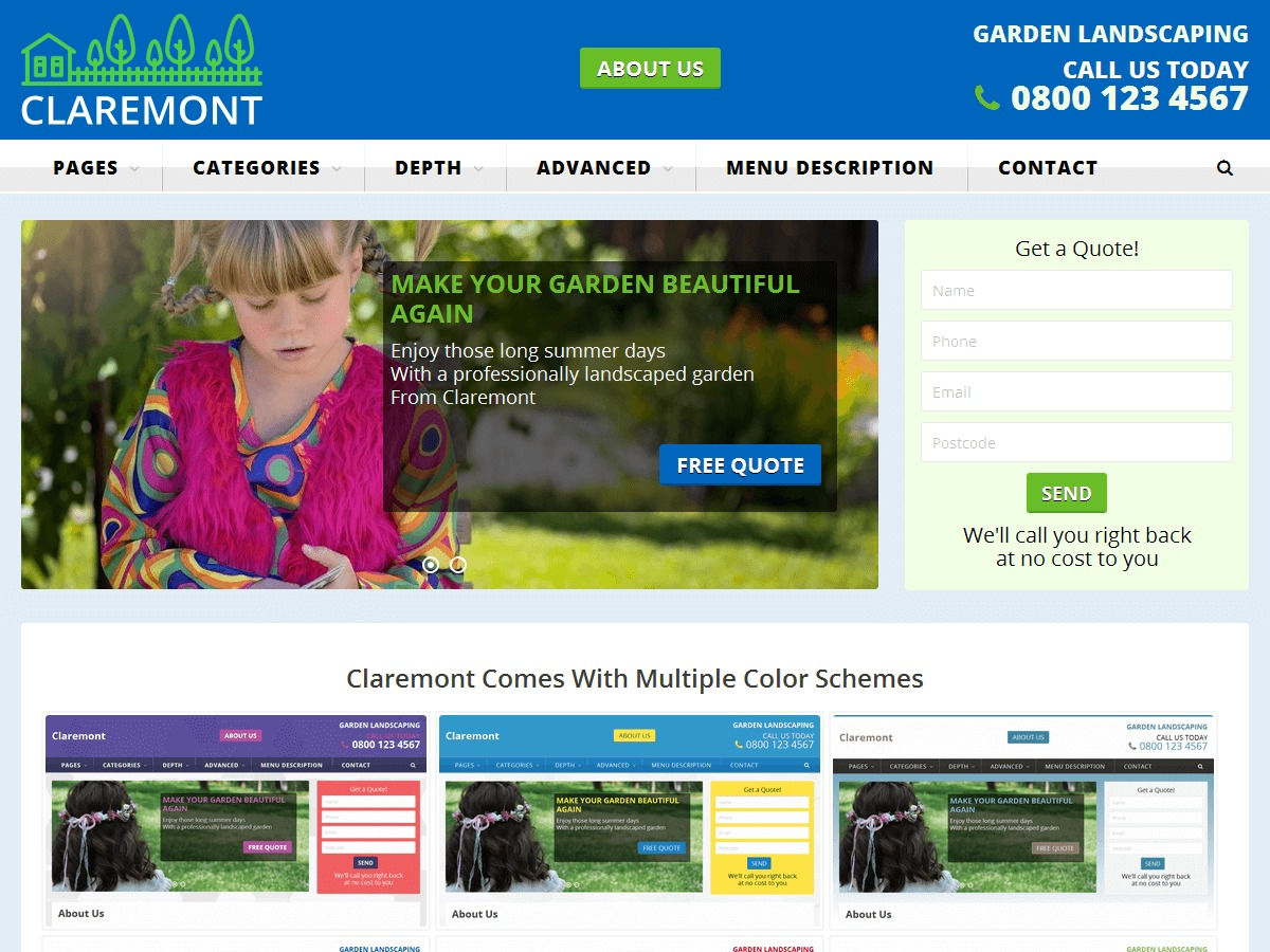 Claremont free WordPress theme