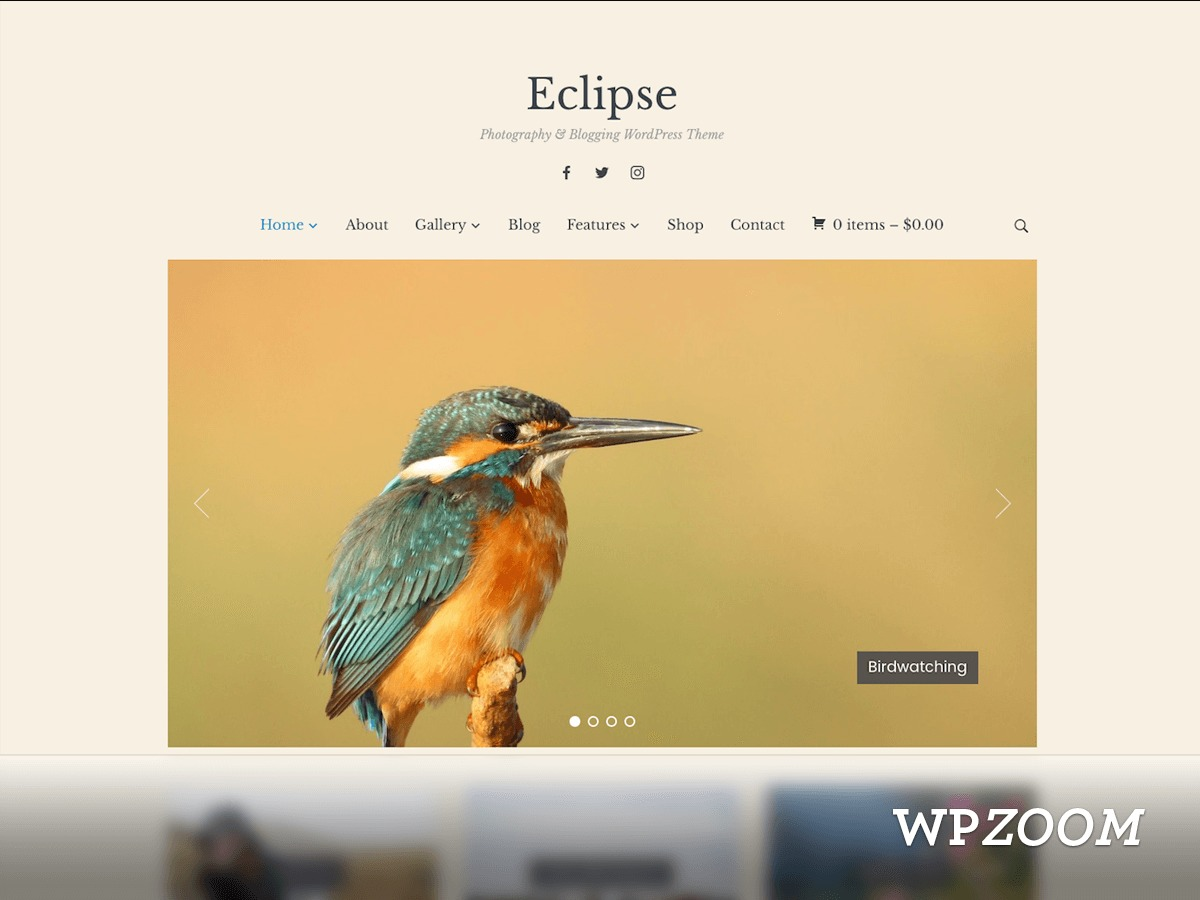 Eclipse WordPress template for photographers