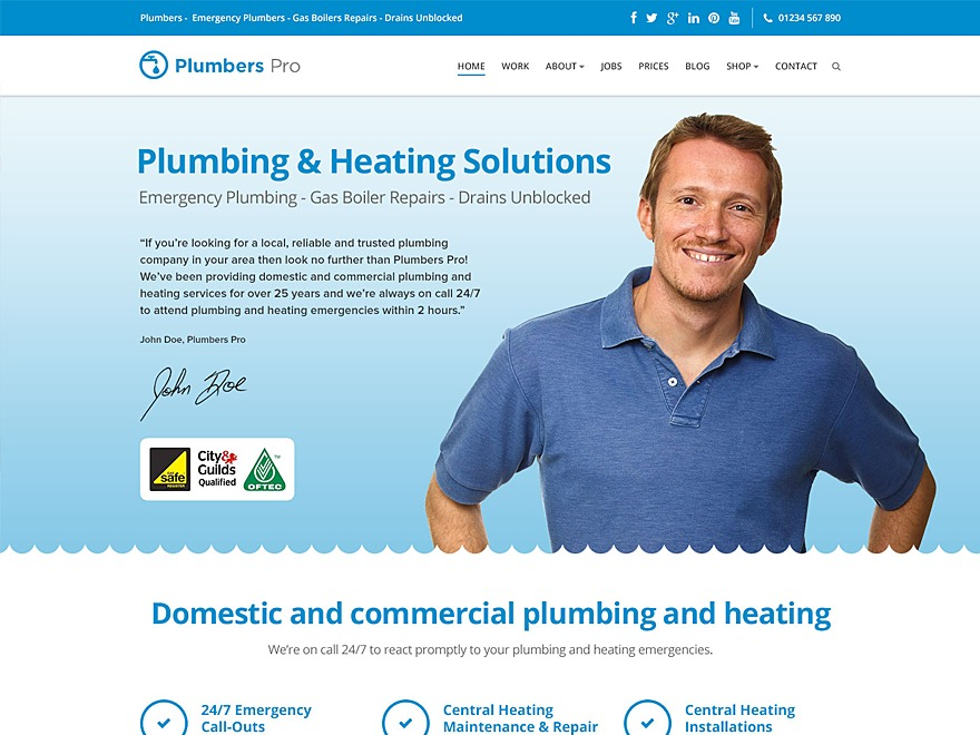 Plumbers Pro WordPress theme