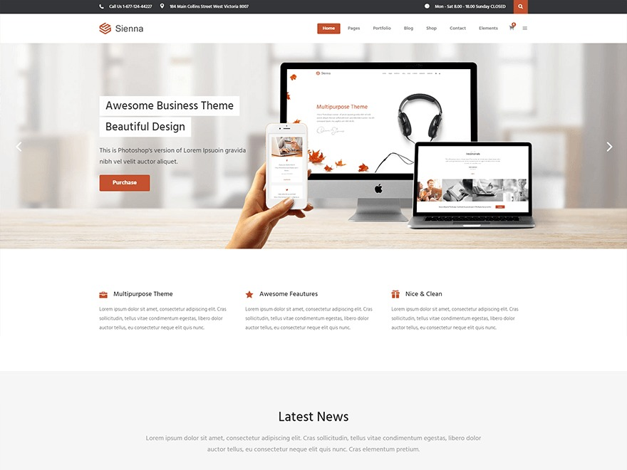 SiennaWP business WordPress theme