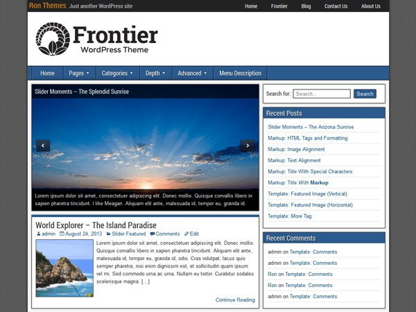 Frontier WordPress template for photographers