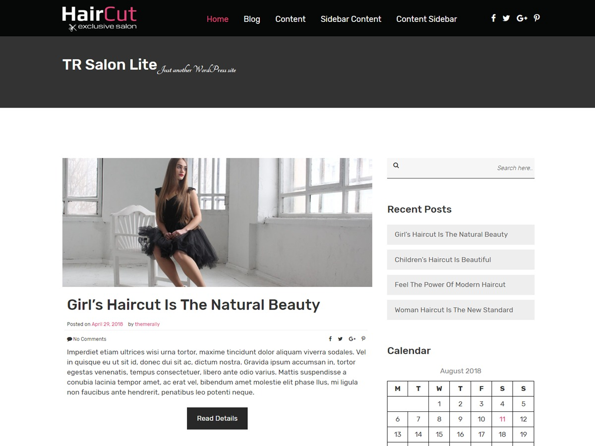 TR Salon Lite WordPress blog template