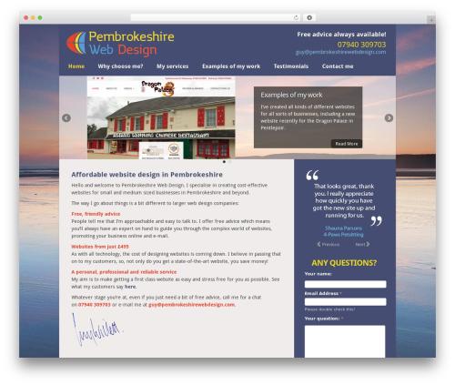 WordPress theme Chameleon - pembrokeshirewebdesign.com