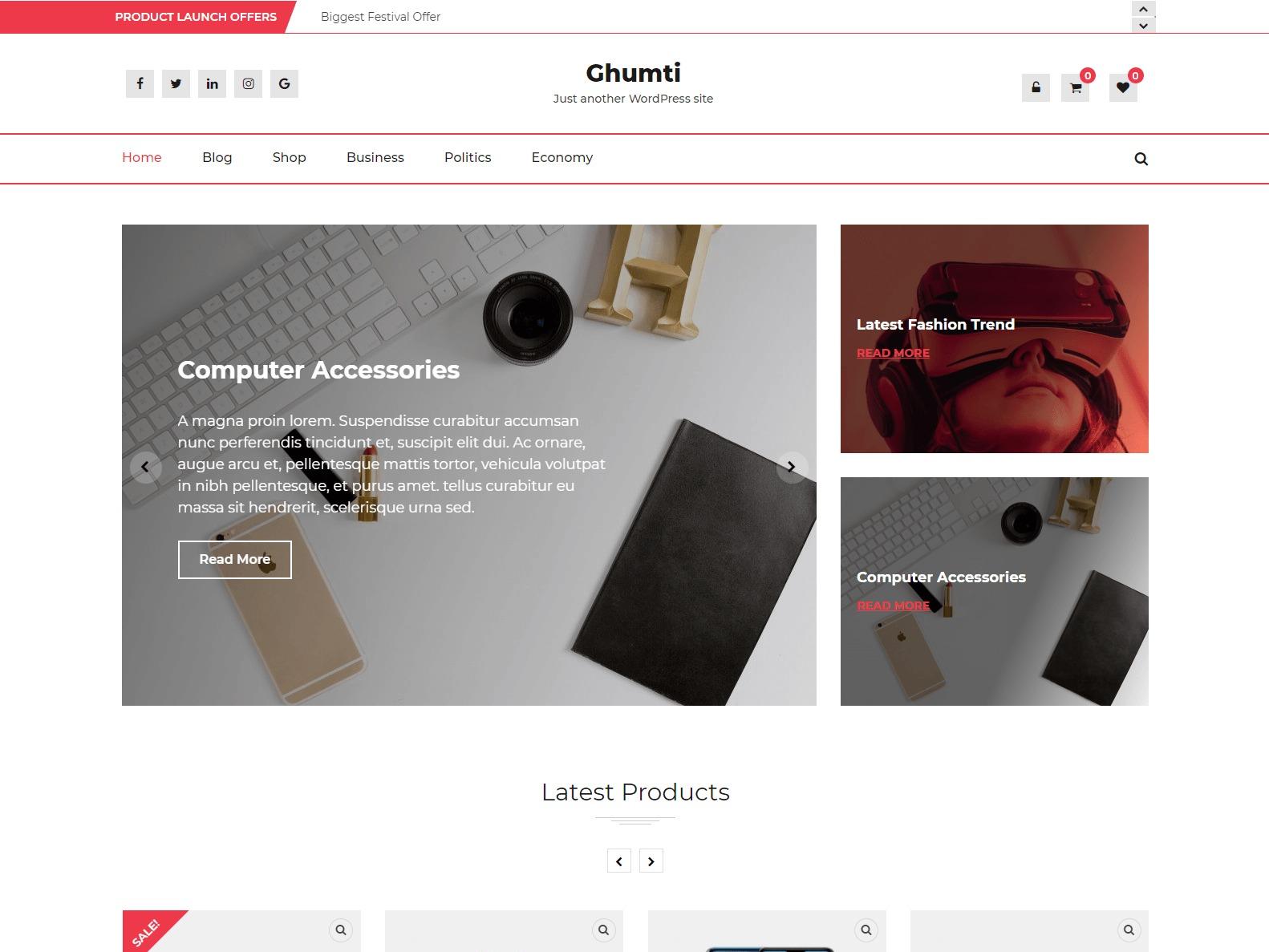 Ghumti WordPress ecommerce template