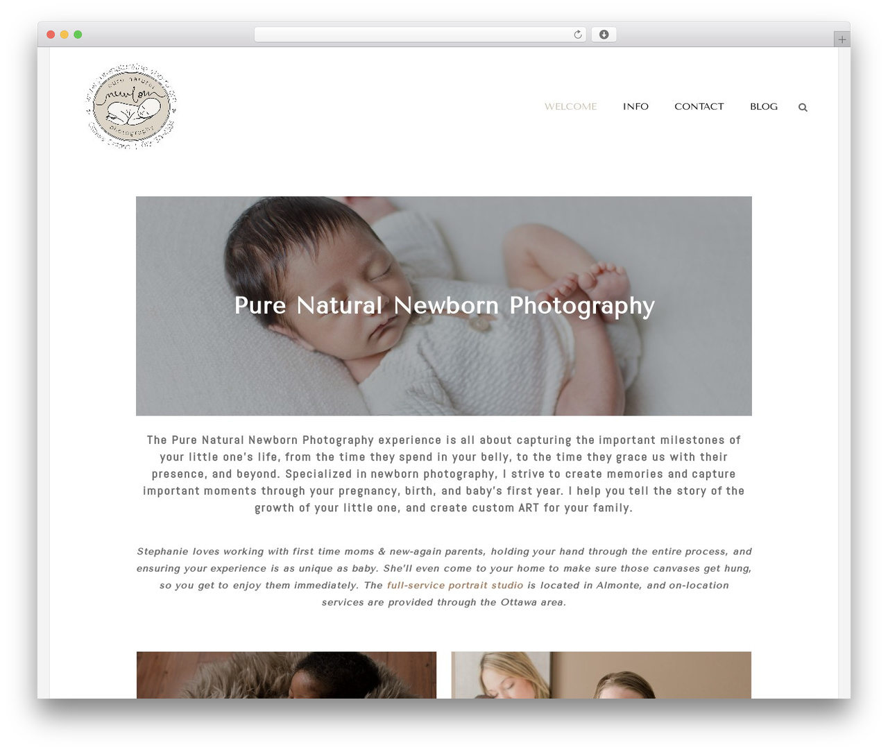 Homa WordPress template for photographers - purenaturalnewborn.com