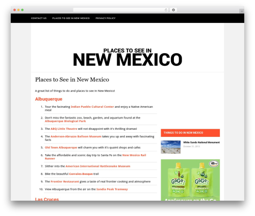 Hickory WordPress theme - placestoseeinnewmexico.com