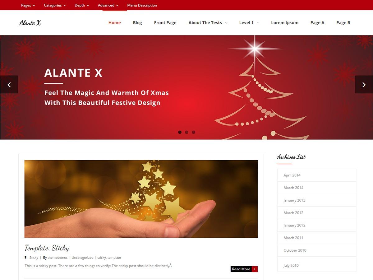 Alante X WordPress theme free download