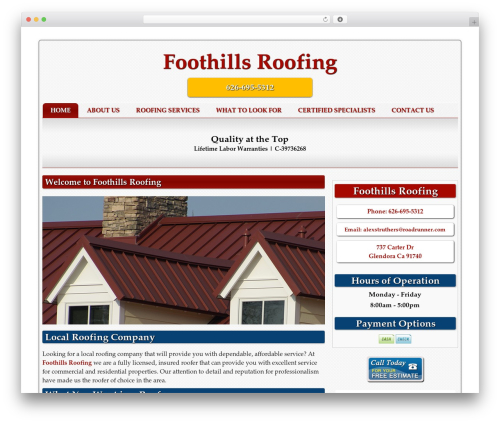 Basic free WP theme - foothillroofingca.com