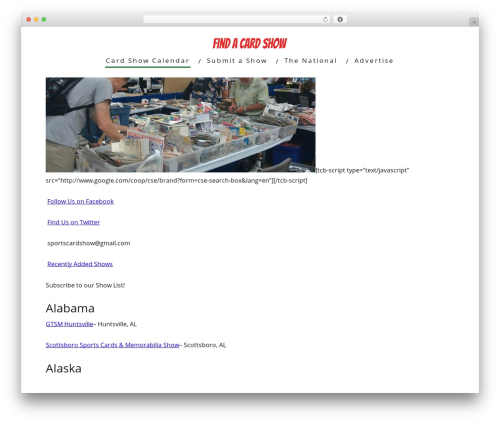 Minus WordPress page template - findacardshow.com