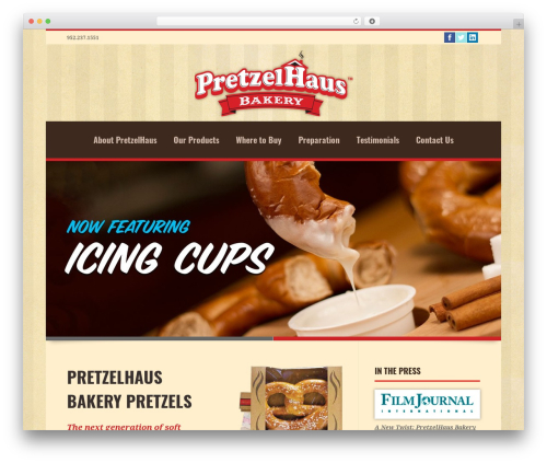 Linofeast WordPress theme - pretzelhausbakery.com