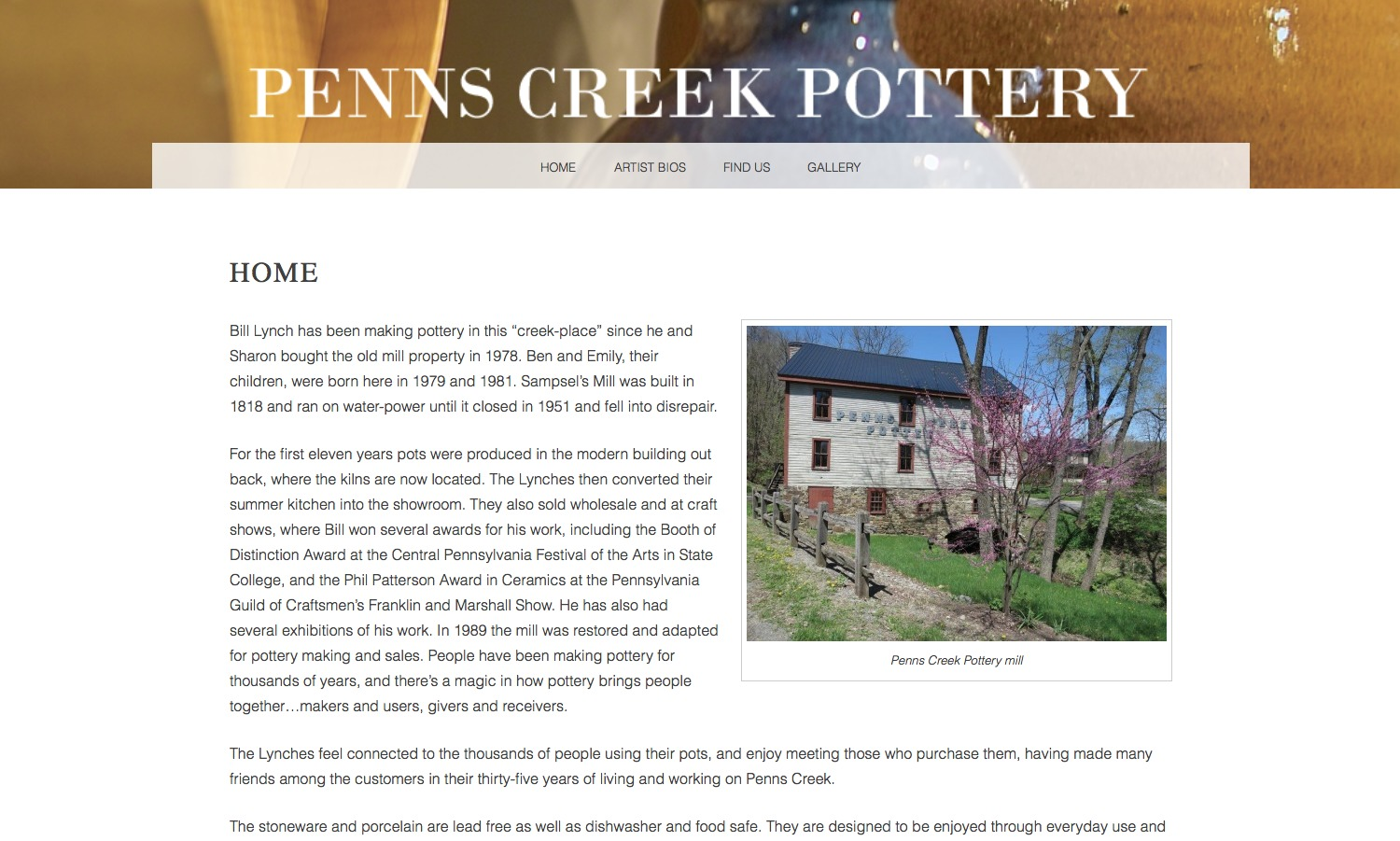 Penns Creek Pottery - Child of Snaps premium WordPress theme