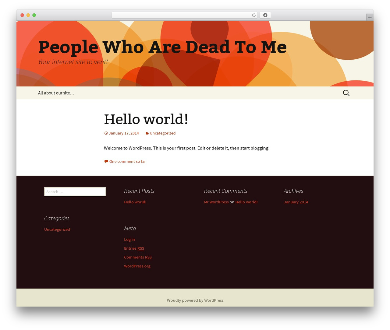Twenty Thirteen free WP theme - peoplewhoaredeadtome.net