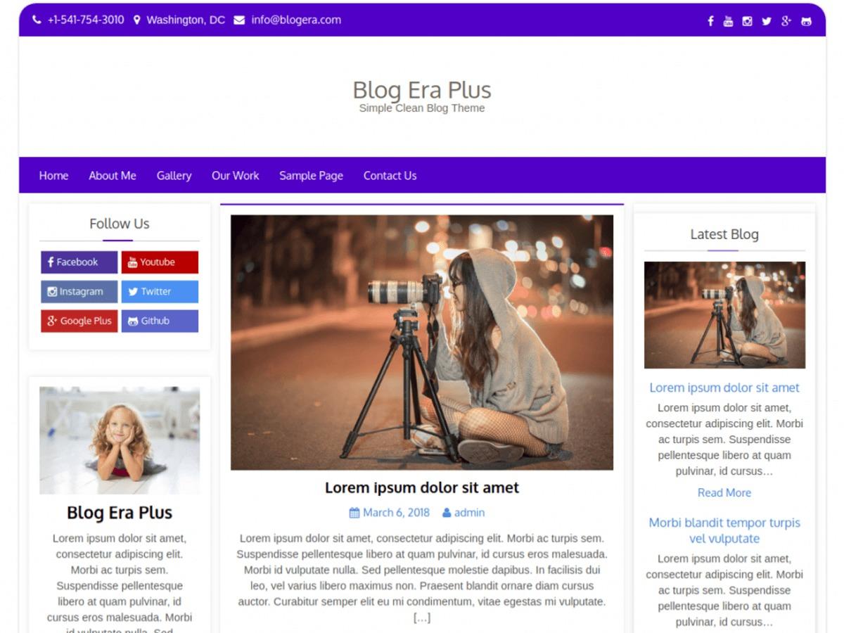 Blog Era Plus WordPress blog theme