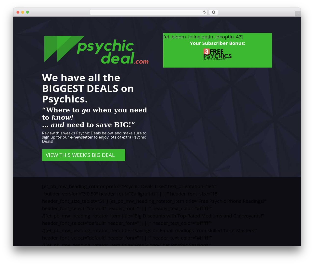 Divi best WordPress template - psychicdeal.com