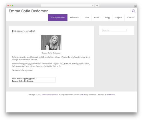 Radiate free WordPress theme - dedorson.com