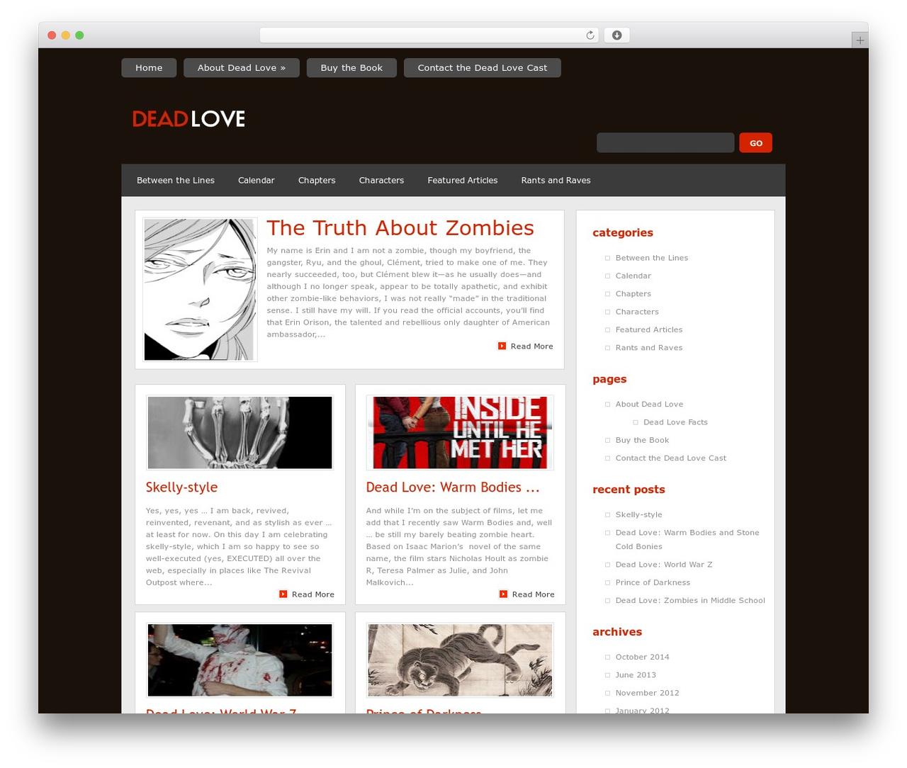 WordPress theme Quadro - deadlovebook.com