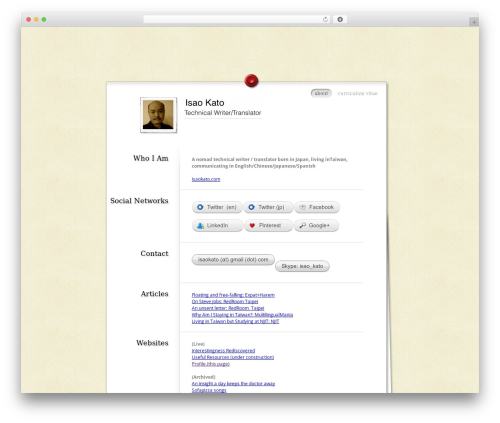 MyResume best free WordPress theme - profile.isaokato.com