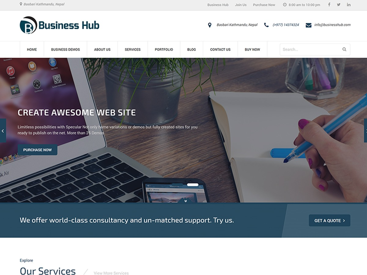 Business Hub business WordPress theme