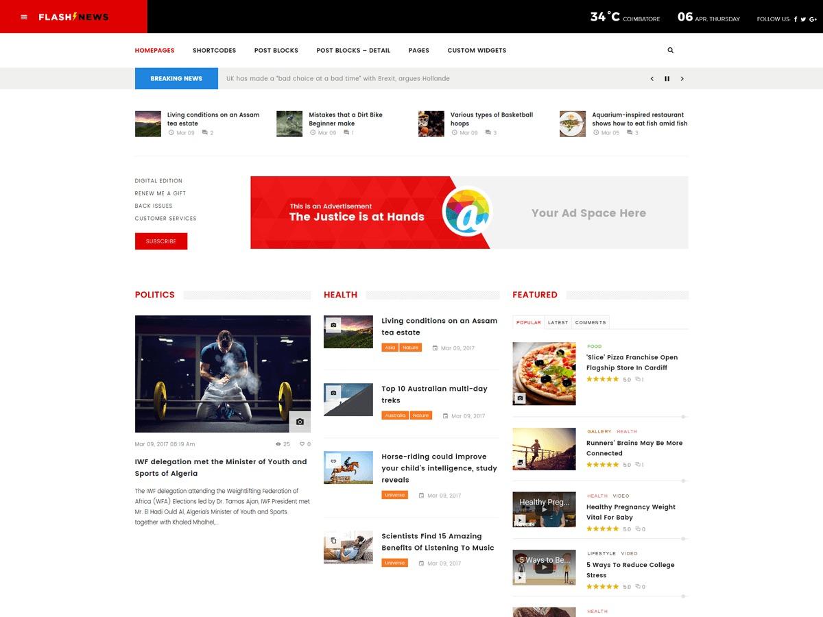 FlashNews best WordPress magazine theme