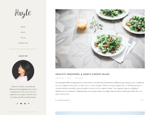 Hayle WordPress blog template