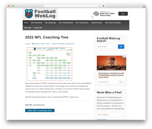 Responsive theme WordPress - footballweblog.com