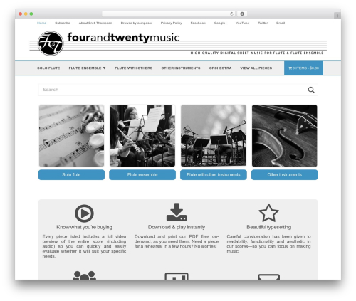 Shop Front WordPress shop theme - fourandtwentymusic.com