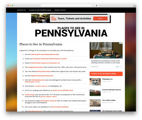 Hickory best WordPress theme - placestoseeinpennsylvania.com
