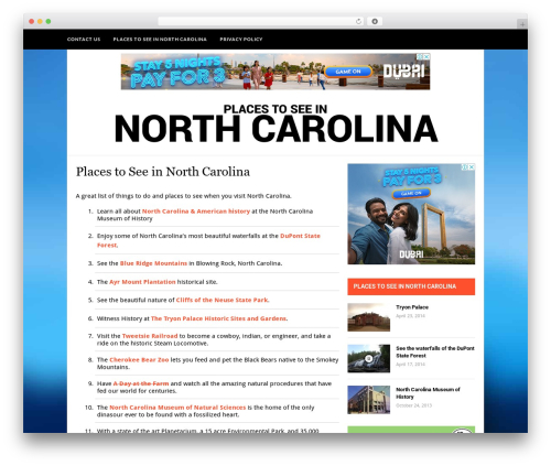 Hickory WordPress template - placestoseeinnorthcarolina.com