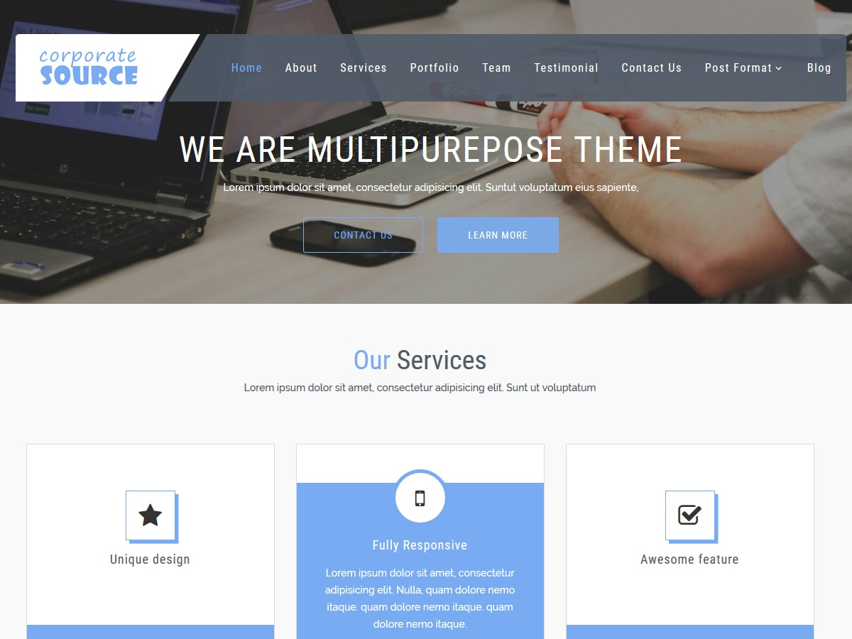 CorporateSource WordPress template for business