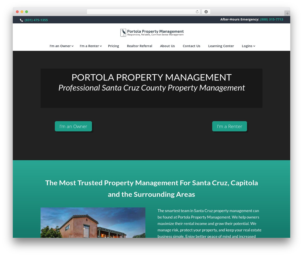Divi business WordPress theme - portolarentals.com