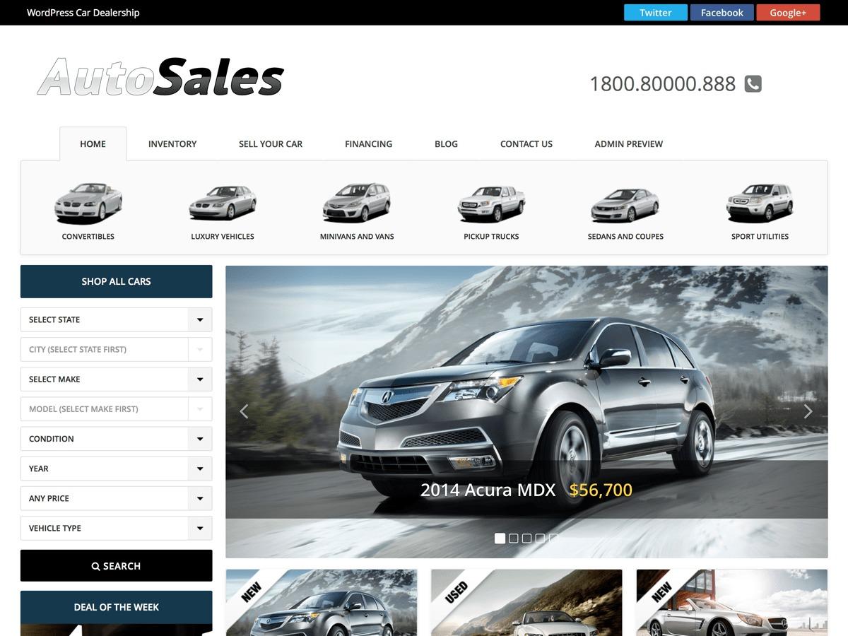 WordPress theme AutoSales Deluxe