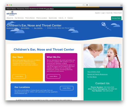 Ascension premium WordPress theme - dellchildrens.net/services-and-programs/ear-nose-and-throat-center